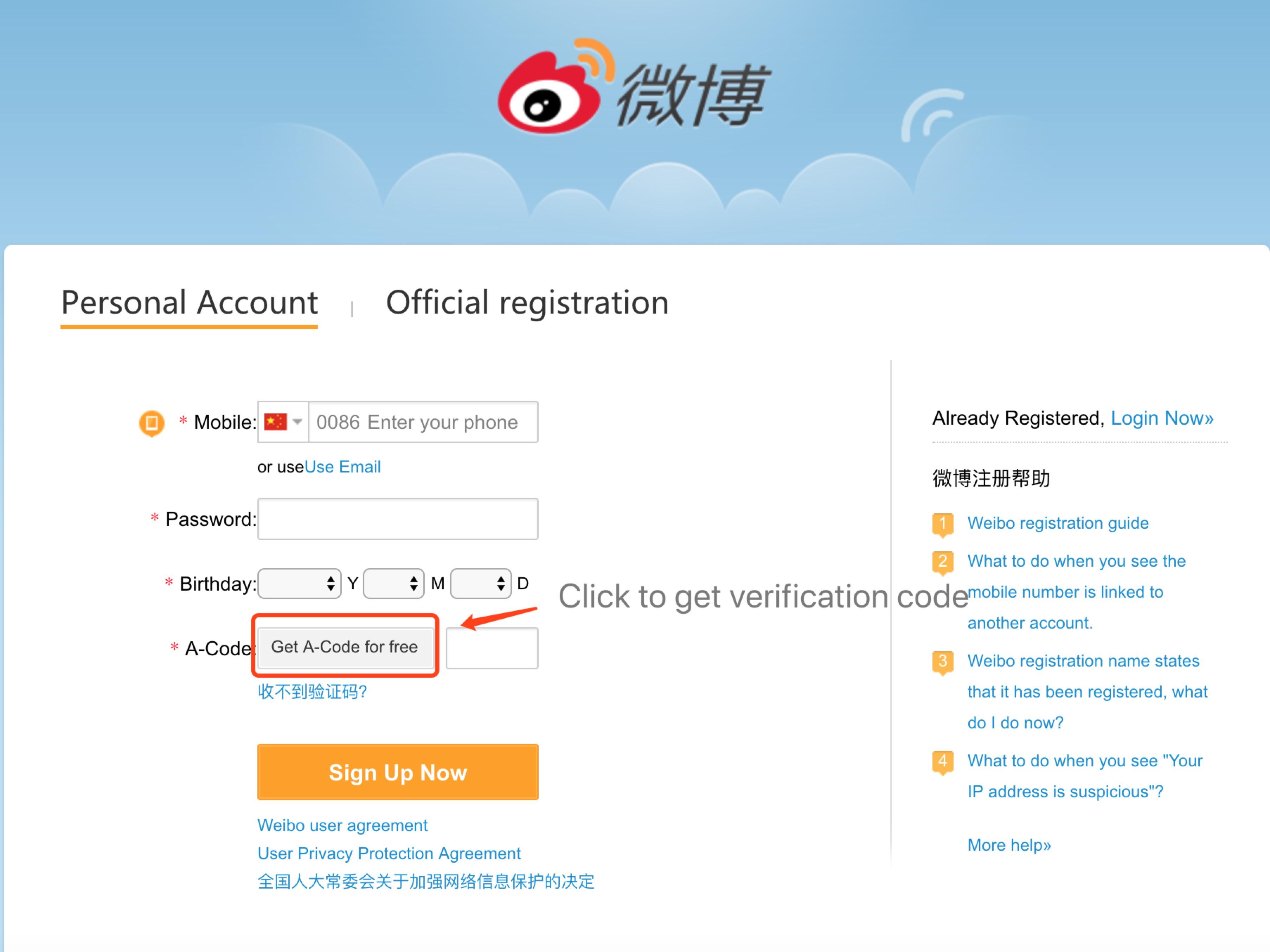 How do I register for a Weibo account?