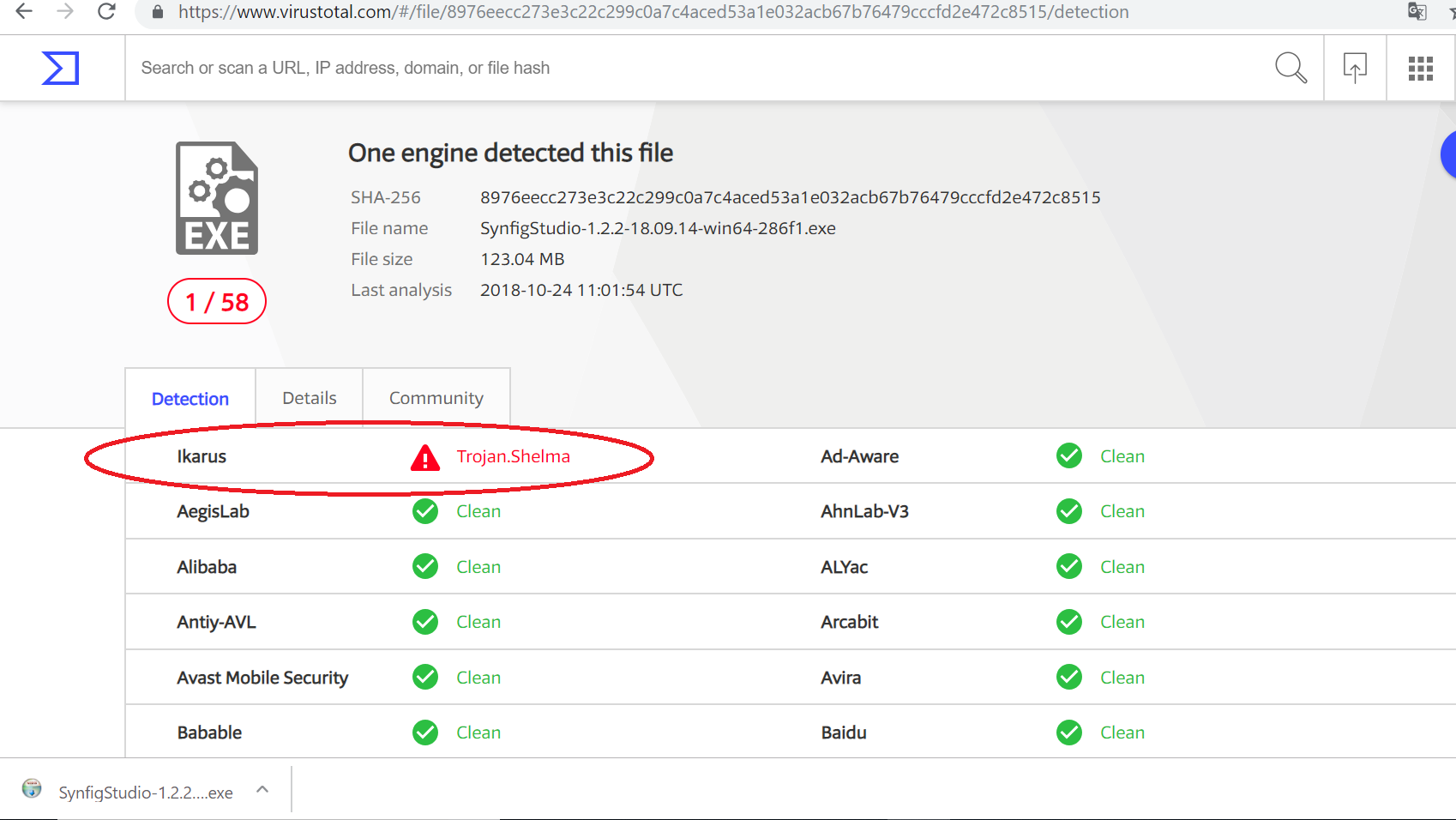Synfig Studio installer reported as malicious file by