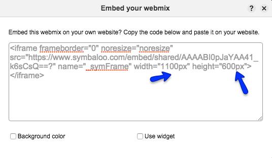 Resize an embedded webmix