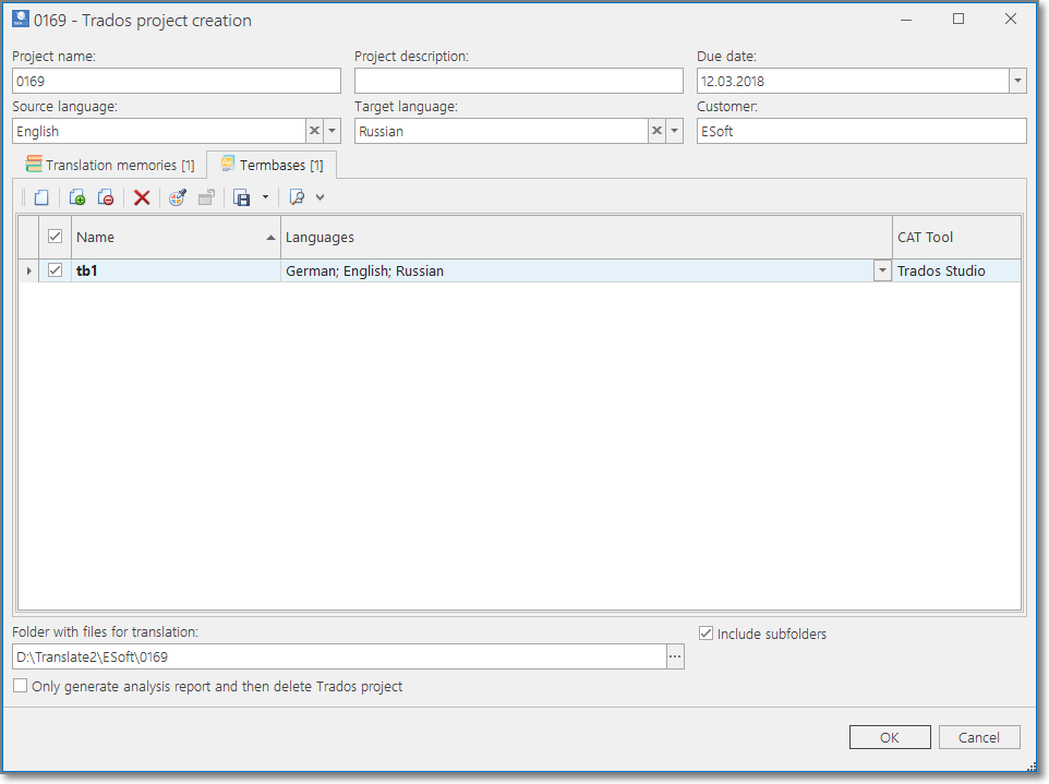 BaccS and SDL Trados integration with translation management software