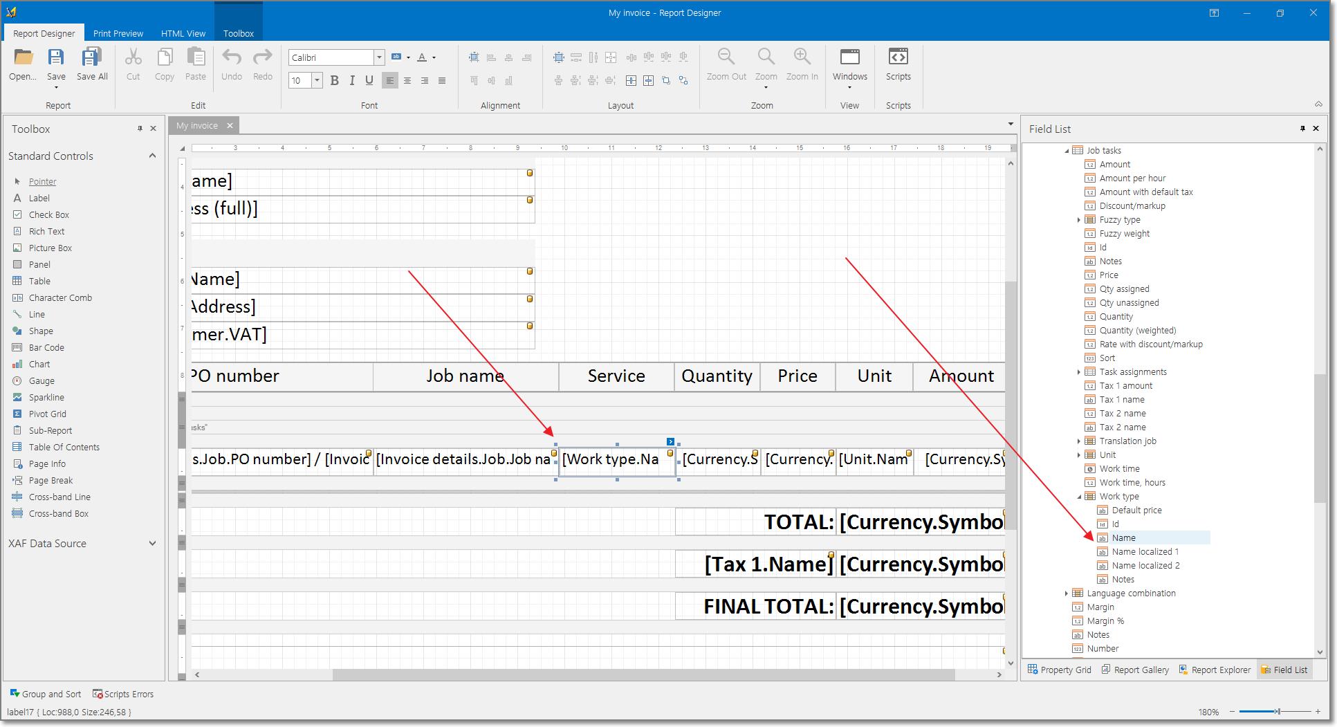 Invoice printing template localization, bilingual invoices