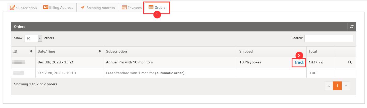 Orders Tab
